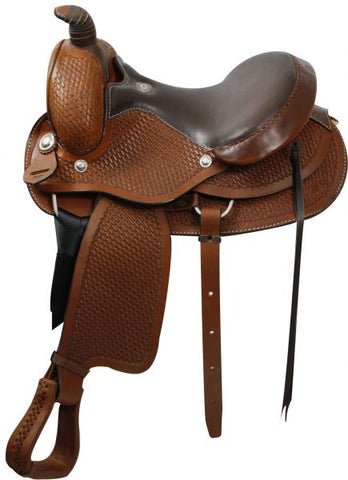 15 / Dark oil Round Skirted, fully tooled, Roping Style Saddle made by Buffalo Saddlery