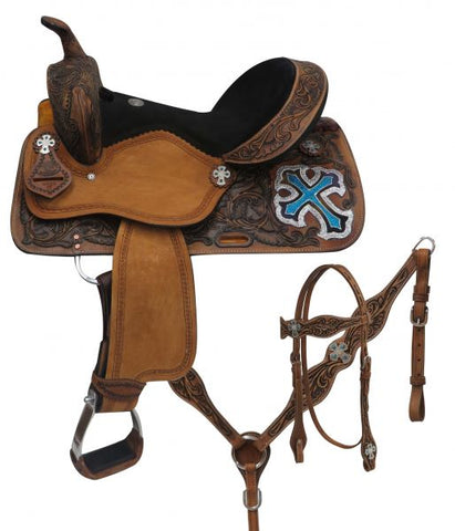 "#15805: 14"", 15"", 16"" Double T  barrel style saddle set with metallic cross"