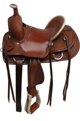 "12"" Double T hard seat roper style saddle with basket tooling"