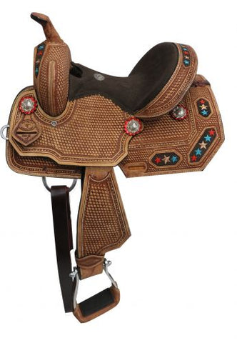 "#15812: 12"" Double T Youth/Pony embroidered star barrel saddle"