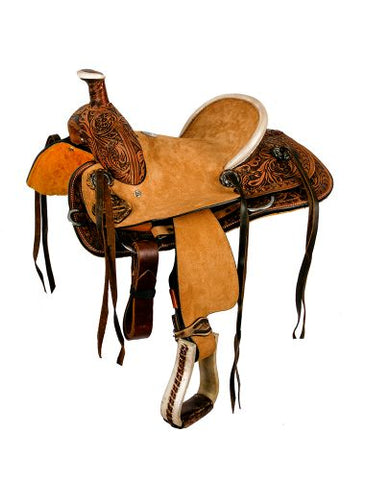 "#1582012: 12"" Double T hard seat roper style saddle with floral tooling"