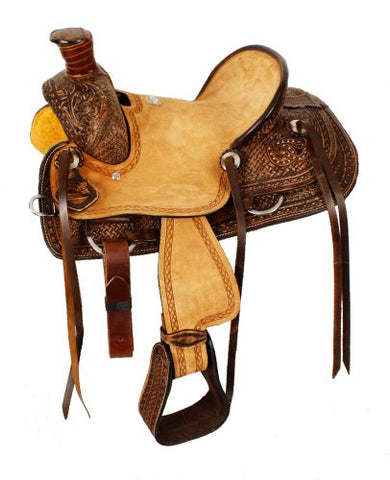 "#1581912: 12"" Double T Youth hard seat roper style saddle with basket and floral tooled leather"