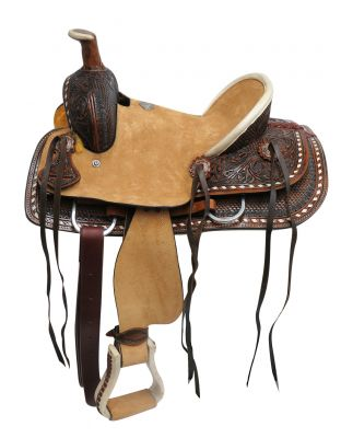 "#15821: 12"" Double T Youth hard seat roper style saddle with basket and floral tooled leather"