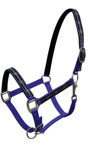 Blue Triple ply Neoprene lined nylon horse size halter with barbwire design overlay