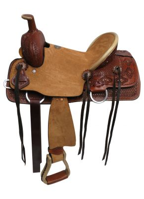"#1582913: 13"" Double T Youth hard seat roper style saddle with basket weave and Navajo diamond tool"