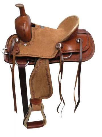 "#15830: 12"" Double T  Youth hard seat roper style saddle"