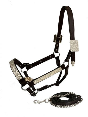 #161143H: Horse Size double stitched leather show halter with floral engraved silver plates. Halter features double buckles on crown and three way ad