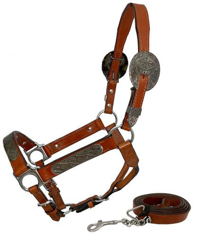 #161149H: Showman ® Horse Size double stitched leather show halter with engraved silver plates
