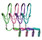 #16219: Showman ® Pony Braided nylon cowboy knot rope Halter with lead