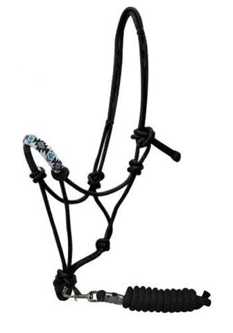 #16230: Showman ® Beaded nose cowboy knot rope halter with 7' lead