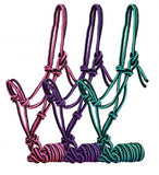 #16264: Showman ® Pony /Small Horse Braided nylon cowboy knot rope Halter with 7' lead