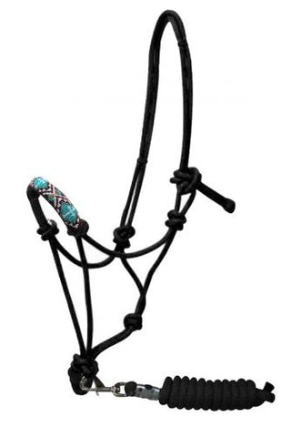 Teal Showman ® Beaded nose cowboy knot rope halter with 7' lead