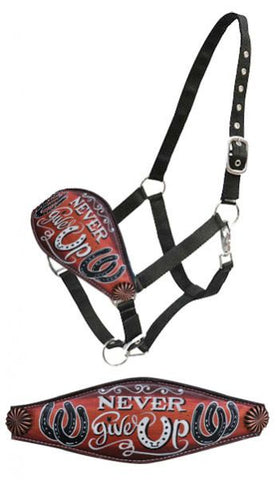 "#16313: Showman® "" Never give Up"" hand painted bronc nose halter"