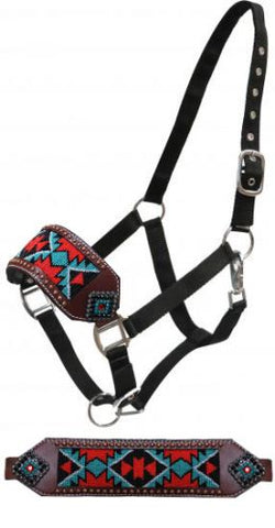 #16442: Showman ® Beaded bronc nose halter