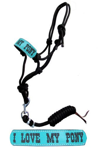 "#16447: Showman ® Pony size rope halter with turquoise leather noseband with "" I love My Pony"" and"