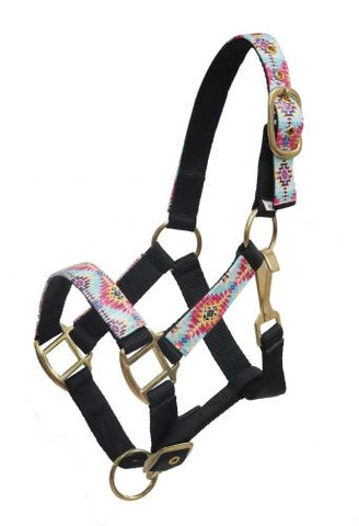 #16475: Showman ® PONY Halter with multi color Navajo print overlay
