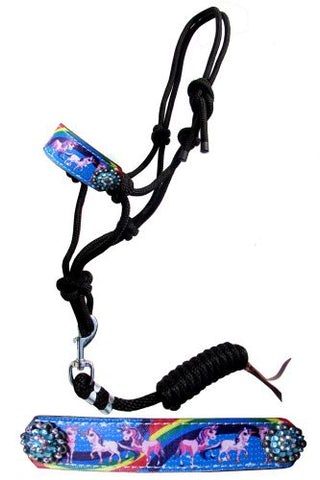 #16500: Showman ® Pony Rainbow Unicorn cowboy knot rope halter