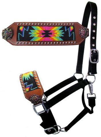 #16552: Showman ® Nylon bronc halter with rainbow navajo beaded design