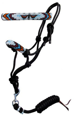 #16646: Showman ® Beaded nose cowboy knot rope halter with 7' lead