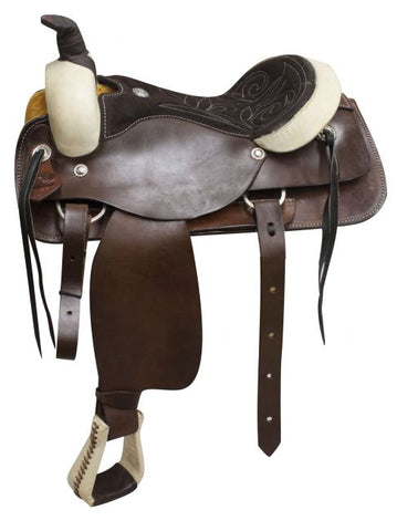#1726: Circle S roper/pleasure style saddle with a suede leather seat
