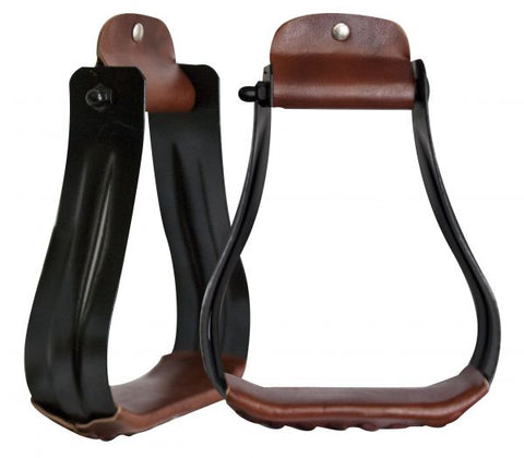 #175670: Showman ® Black steel western stirrups with leather tread