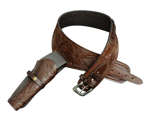 "46"" Showman ® 22 Caliber Medium oil tooled leather Western gun holster and belt"