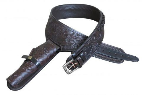 "48"" Showman ® 44/45 Caliber Dark oil tooled leather Western gun holster and belt"