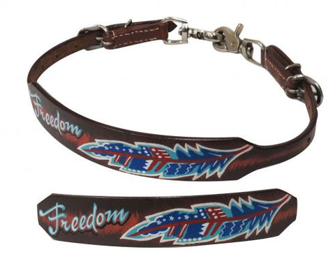 "Showman ® Medium leather wither strap with painted "" Freedom"" design"