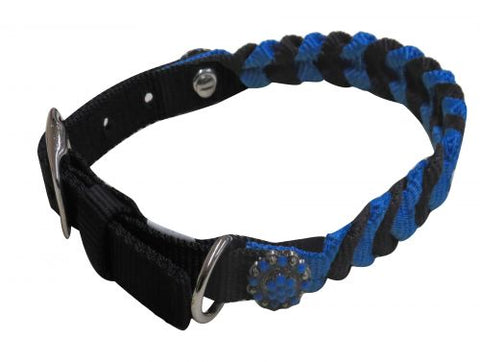 "Small/Blue (10""-13"") Showman Couture ™ Braided nylon dog collar"