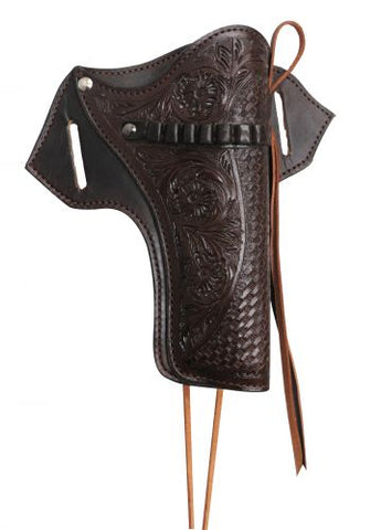 #176141-C22: Showman ® 22 Caliber dark oil gun holster with basket and floral tooling