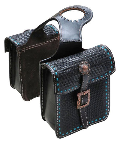 #176331: Showman ® Tooled leather horn bag with teal buck stitch