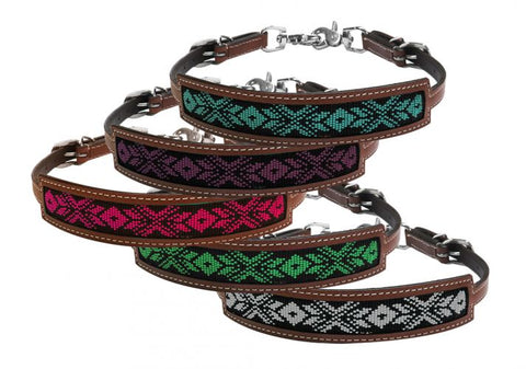 #176382: Showman ® Medium leather wither strap with beaded inlay