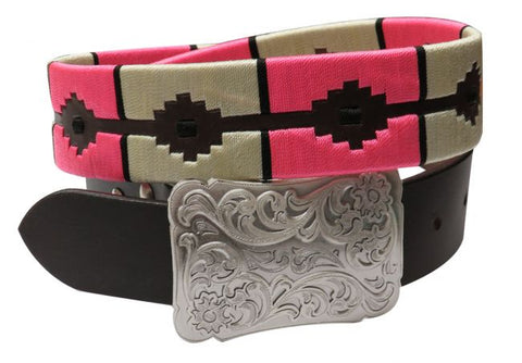 #176398: Showman Couture ™  pink and cream wrap embroidered belt