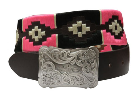 #176399: Showman Couture ™  pink and cream wrap embroidered belt