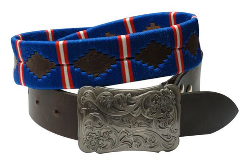 #176400: Showman Couture ™  Blue, red and  white wrap embroidered belt