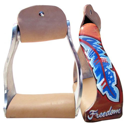 "#176553: Showman ® Lightweight twisted angled aluminum stirrups with ""Freedom"" feather design"