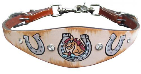 #176620: Showman ® PONY SIZE  Distressed Horseshoe print wither strap