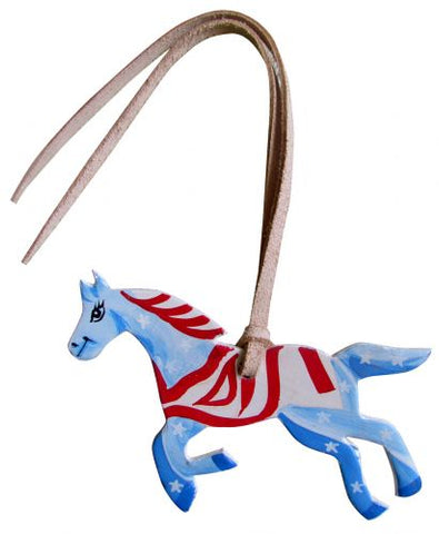 Red, White, and Blue Hand Painted Tie on Horse