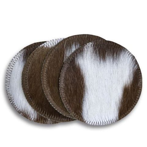 Brown and White Cowhide Coasters
