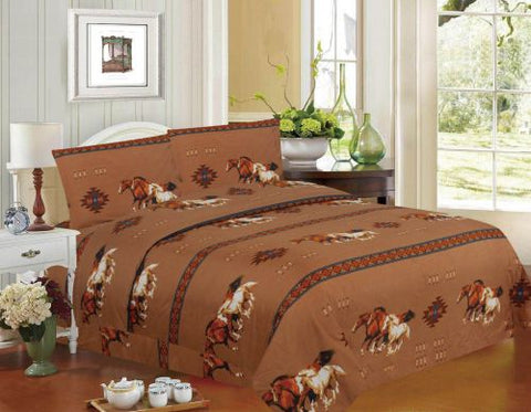 4PC Queen Size Tan Running Horse Sheet Set