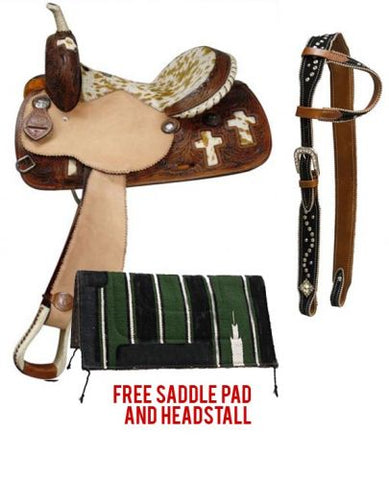 "14"" Double T Barrel Style Saddle package with Hair On Cowhide Seat and Cross Inlays"