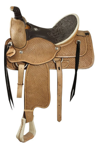 16 / Dark Oil Fully tooled basketweave tooling, Roping Style saddle WITH a warranty for roping