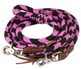 Pink/Black Showman ® 8ft braided nylon barrel reins with scissor snap ends