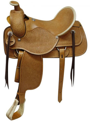 Fully tooled basketweave tooling Roping Style saddle made by Circle S Saddlery