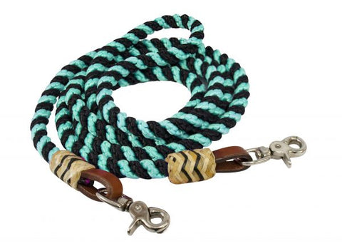 Teal Showman ® 8FT rolled nylon barrel reins