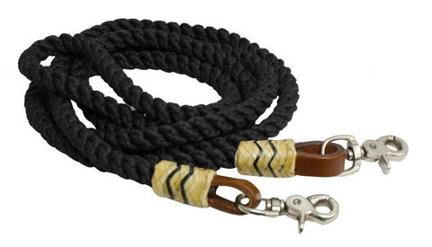 Black Showman ® 8FT rolled nylon barrel reins
