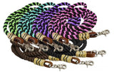 Brown Showman ® 8FT rolled nylon barrel reins
