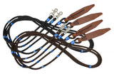 Brown Showman ® 8ft braided nylon reins with large leather poppers