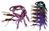 Pink Showman ® 8 ft braided nylon reins with tassels