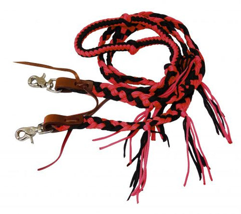 Red Showman ® 8 ft braided nylon reins with tassels